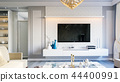 Interior of the living room in gray tones 3D illustration 44400991