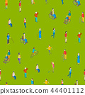 Isometric Disabled People Characters Seamless Pattern Background. Vector 44401112