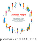 Isometric Disabled People Characters Banner Card Circle. Vector 44401114