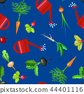 Cartoon Colorful Fresh Organic Food Vegetable Bed Seamless Pattern Background. Vector 44401116