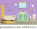 Cartoon Dirty Organized Bathroom for Cleaning Room Service Card Poster. Vector 44401121