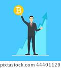 Cartoon Blockchain Concept with Business Man. Vector 44401129