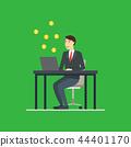 Cartoon Blockchain Concept with Business Man. Vector 44401170