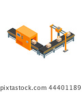 Automated Factory 3d Isometric View Isolated on a White Background. Vector 44401189