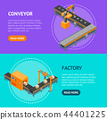 Automated Factory Banner Horizontal Set 3d Isometric View. Vector 44401225