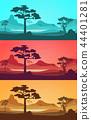 Cartoon African Savannah Card Poster Set. Vector 44401281