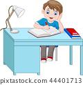 Cartoon little boy studying 44401713