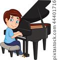 Cartoon little boy playing piano 44401716