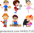 Cartoon kids with different hobbies on a white bac 44401719