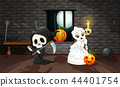 Cartoon grim reaper and skull bride 44401754