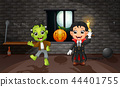 Cartoon of vampire and frankenstein 44401755