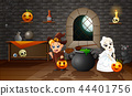Cartoon of witch and skull bride 44401756