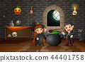 Cartoon of little witch and vampire 44401758