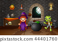 Happy halloween little witch and frankenstein 44401760
