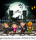 Cartoon happy kids with Halloween costume 44401762