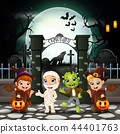 Cartoon happy kids with Halloween costume 44401763
