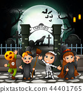 Cartoon happy kids with Halloween costume 44401765