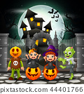 Cartoon happy kids with Halloween background 44401766