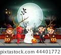 Happy halloween kids in full moon background 44401772
