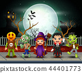 Happy halloween kids in full moon background 44401773
