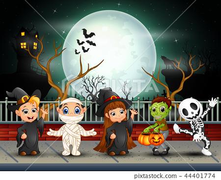 Happy halloween kids in full moon background 44401774