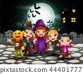 Happy halloween kids in full moon background 44401777