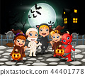 Happy halloween kids in full moon background 44401778
