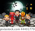 Happy halloween kids in full moon background 44401779