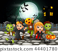 Happy halloween kids in full moon background 44401780