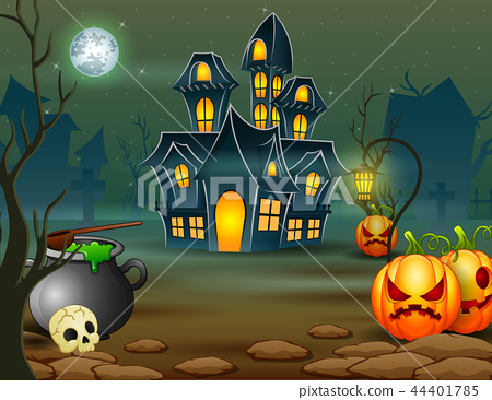 scary house with pumpkin and green cauldron 44401785
