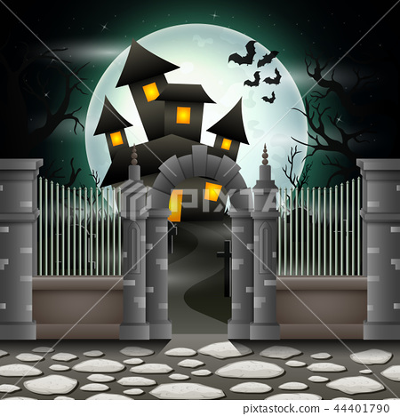 Halloween background with house in full moon 44401790