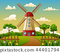 Building tower in farm background 44401794