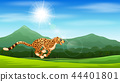 Cartoon cheetah running in the jungle 44401801