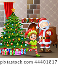 Merry christmas with santa claus and elves at home 44401817