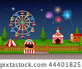 Amusement park landscape at night with fireworks 44401825