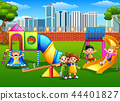 Vector illustration of Children playing in the pla 44401827