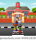 Vector illustration of Children crossing the road 44401838