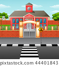 Vector illustration of School building with crossw 44401843