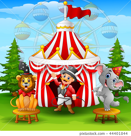 Circus elephant with lion and tamer on the circus  44401844