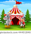 Vector illustration of Circus elephant and tamer o 44401846