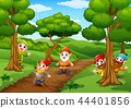 Cartoon happy dwarf in the forest 44401856