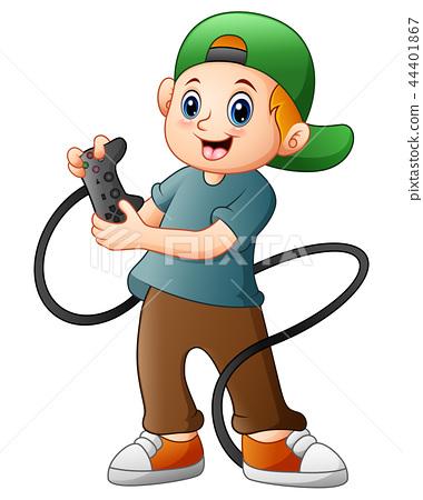Little boy holding joystick game 44401867