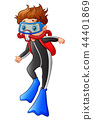 Vector illustration of Snorkeling boy cartoon 44401869