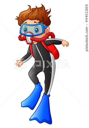 Vector illustration of Snorkeling boy cartoon 44401869