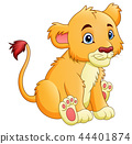 Vector illustration of Cartoon lion isolated on wh 44401874