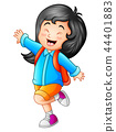 Vector illustration of Cute little girl go to scho 44401883