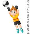 Vector illustration of Cartoon boy goalkeeper catc 44401896