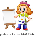 Cartoon girl painting 44401904