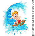 Vector illustration of Kids play surfing with big  44401909