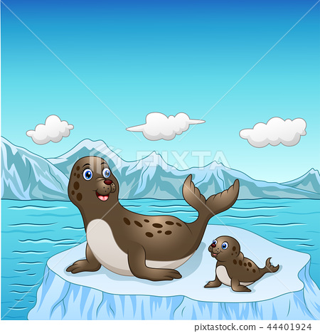 Vector illustration of Seal family cartoon on ice  44401924
